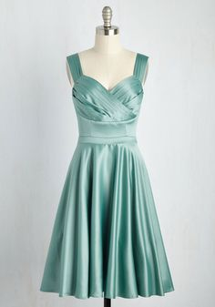 With a casual look over the shoulder of this blue-green dress, you become the picture of sophistication. Part of our ModCloth namesake label, this beauteous frock features pleating at the straps and waistline, and a satiny, surplice bodice that perfectly complements your soft blush and sweet smile.