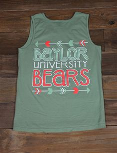Survive the great summer heat while showing your awesome school spirit in this new Baylor University Comfort Color tank top! Follow the arrows back to wear your heart leads you this summer