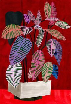 'Red Diptych' (2008) by LA-based American artist Jonas Wood (b.1977). Acrylic on…