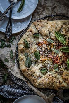 Local Milk | southern supper | heirloom tomato galette + lemon balm almond pesto & chevre