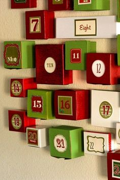 advent calendar - could glue boxes filled with treats on foam core and deliver it to the neighbs... leave it on porch and doorbell ditch