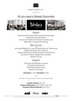All You Need is Blakes December - Early Bird Menu