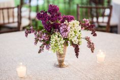 Centerpiece | Purple | on Style Me Pretty | Photography: Cory Ryan Photography