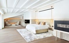 Contemporary, neutral and light bedroom | Pendant bedside lights | Project Esra | 1508