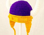 Vikings Earflap Hat in Minnesota Colors, Purple and Gold Crochet Beanie, RTS Ready to Ship Size Large, ages 5 - adult