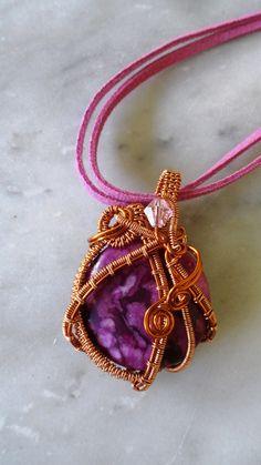 #handmade #wirejewelry #copperwire  #pendant #necklace #marblestone