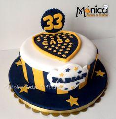 torta de BOCA JUNIOR, con detalles unicos en ella, elaborado por MONICA PASTAS Y DULCES