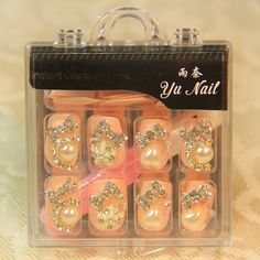 Aliexpress.com : Buy Cream powder sparkling series square  nail art patch elegant bride nail false nail art finished products from Reliable natural nail suppliers on Jessie's shop. $15.28