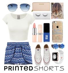 """""""Untitled #60"""" by kelseyfic-1 ❤ liked on Polyvore featuring H&M, Christian Dior, Converse, JINsoon, Michael Kors, Agent 18, Tarina Tarantino and printedshorts"""