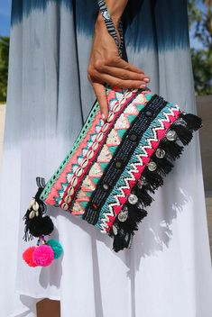 Tassels pouch/Beaded purse/bohemian pouch tassels/Summer