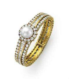 A CULTURED PEARL AND DIAMOND BANGLE BRACELET