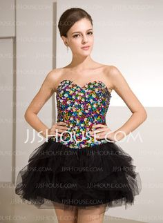 Cocktail Dresses - $142.99 - A-Line/Princess Sweetheart Short/Mini Tulle Sequined Cocktail Dress With Beading (016014256) http://jjshouse.com/A-Line-Princess-Sweetheart-Short-Mini-Tulle-Sequined-Cocktail-Dress-With-Beading-016014256-g14256
