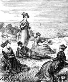 Victorian illustration to download showing a romantic scene of four young women lounging on a grassy clifftop listening to a young man reading to them from a small volume - could it be the poems of Tennyson? Download high quality jpeg for just £5. Perfect for framing, logos, letterheads, and greetings cards.
