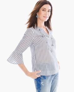 Striped Flare-Sleeve Top