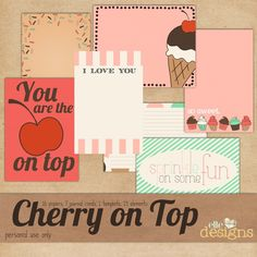 """FREE - """"Cherry on Top"""" journal cards"""