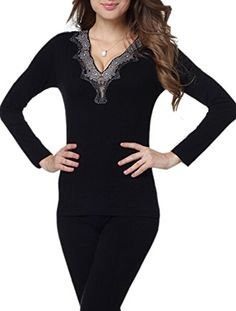 459057cf721 Freedi V Neck Seamless Sexy Long Thermal Underwear Bottom Top Set Black  Wetsuit