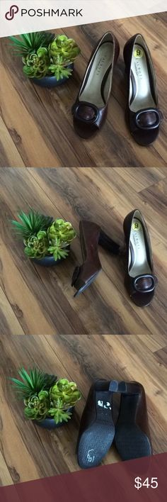 Talbots Brown Leather Peep-Toe Heels with Buckle Talbots Brown Leather Peep-Toe Heels with Buckle! Size 9. Good condition! Show some wear on back/sides of shoes (photo), still very quality with lot of wears left in them! Perfect classic shoe! Talbots Shoes Heels