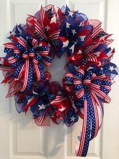 Large Patriotic Wreath, Fourth of July Wreath, Memorial Day Wreath, wreath, Veterans day wreath, red white and Blue Wreath, Anytime Wreath