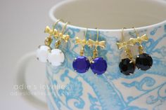 Vintage Blue Black or White Stone & Gold Bow by adieslovelies, $11.99
