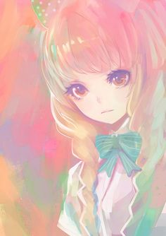 anime girl pretty cute pastel kawaii bow blue pink purple yellow