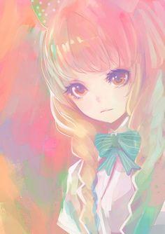 anime girl pretty cute pastel kawaii bow blue pink purple yellow