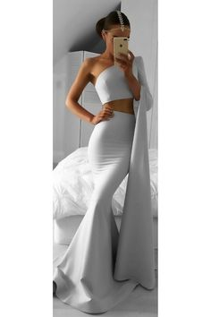 Two Pieces One Sleeve Mermaid Long Prom Dresses Party Evening Gowns 3020480