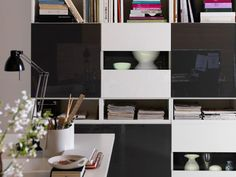 Good Ikea Wohnwand Besta Modell Weiß Schwarz Hochglanz Fronten Amazing Design