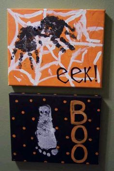 Halloween kid canvas craft with hand and foot print. halloween crafts for kids Casa Halloween, Theme Halloween, Holidays Halloween, Halloween Crafts, Happy Halloween, Halloween Decorations, Halloween Canvas, Halloween Halloween, Halloween Artwork