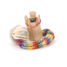 For an introduction to knitting, try our Knitting Tower. With the included ball of yarn and instructions, your child will be soon be knitting up tubes which can be used in many different ways: a strap to hold a doll in a stroller, a band to tie on a silk or a rope to hoist up a heavy basket.