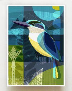 New Zealand Kingfisher by Ellen Giggenbach - Art Prints New Zealand Freelance Graphic Design, Graphic Art, Wall Art For Sale, Kingfisher, Bird Art, Painting Inspiration, New Zealand, Illustration, Folk Art