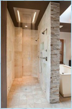 Home Depot shower cabin with contemporary bathroom and beige stone wall . - Home Depot shower cabin with contemporary bathroom and beige stone wall - Open Showers, Shower Cabin, Modern Shower, Dream Bathrooms, Master Bathrooms, Master Baths, Modern Bathrooms, Beautiful Bathrooms, Marble Bathrooms