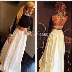 Black And White Two Piece Prom Dresses 2015 Custom Made A Line Rhinestone Gowns Open Back Long Sleeve Evening Dress With Crystal Online