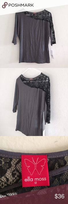 """Ella moss gray long sleeved top Brand new, never worn. Still have tags. Gray Ella moss long sleeved top with black laced across one shoulder & partially one sleeve. Sleeves are 3/4"""" in length. Cute top for going out. Size: 12 (I think Ella moss sizes run larger, as I'm normally a small or size 2 or 4 clothing size). Length: 23"""". Bust: 32""""-34"""" (armpit-to-armpit: 20"""" across, pretty loose around the bust area). 95% rayon, 5% spandex. Ella Moss Tops Tees - Long Sleeve"""