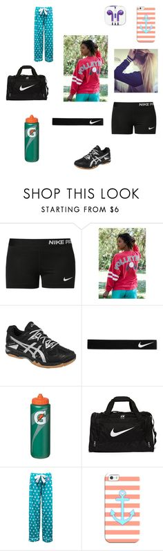 """Volleyball practice "" by itsmaddiexoxo ❤ liked on Polyvore featuring NIKE, Asics and Casetify"