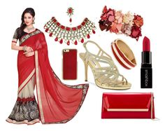 """Saree Outfit (Red, Black, and Golden)"" by minkaur ❤ liked on Polyvore featuring Nina, BillyTheTree, Jimmy Choo, Smashbox and Lime Crime"