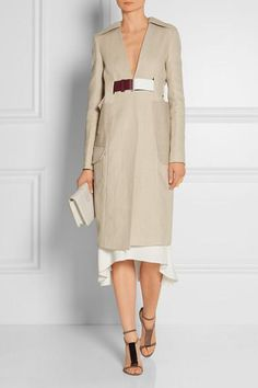 Victoria Beckham|Jute and silk-blend cavnvas trench coat|NET-A-PORTER.COM #trenchcoat #victoriabeckham #designer #covetme