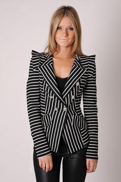 jail break stripe blazer - black/white
