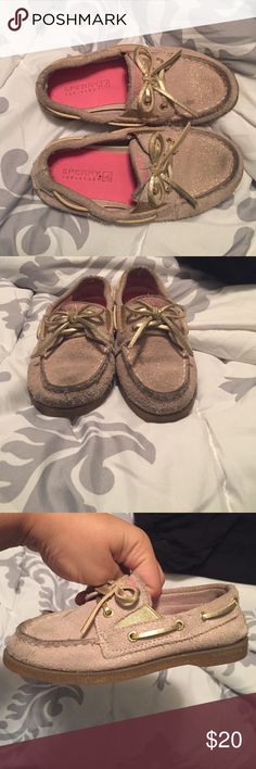 Girls Sperry, Gold glitter and gold laces Girls size 10 sperry. Gold glitter flecks. Worn a few times. Toe area needs cleaned but other than that in great condition. Sperry Top-Sider Shoes