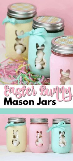 These Easter Bunny Mason Jars are perfect to fill with candy or votive candles and use them for Easter decor or as Easter gifts! crafts with candy Easter Bunny Mason Jars: an adorable and easy Easter craft! Wine Bottle Crafts, Mason Jar Crafts, Mason Jar Diy, Crafts In A Jar, Mason Jar Candy, Diy Crafts, Easy Easter Crafts, Easter Decor, Easter Ideas