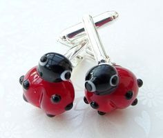 Cufflinks Novelty Ladybird With Lampwork Beads by shineon2 on Etsy, £14.00