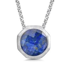Satiny sterling silver and gold-flecked lapis create uniquely organic glamour. | Colore SG