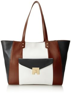 46b5aa2c8 Amazon.com: Tommy Hilfiger Turnlock Travel Tote, Black/Cognac/Off White