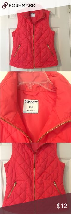 Quilted Vest from Old Navy Super cute orangey/reddish/pink quilted vest with gold zippers from Old Navy. Took the tags off but never wore it. One of the cutest things I've seen at ON! Looks like J. Crew at a fraction of the cost! Old Navy Jackets & Coats Vests