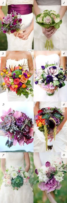 Ideas for using kale in a bridal bouquet #wedding #flowers #cabbage