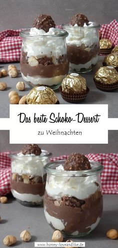 The best chocolate dessert for Christmas: Rocher layered dessert .- Das beste Schokodessert zu Weihnachten: Rocher Schichtdessert Today there is the best chocolate dessert for Christmas, a Rocher layered dessert. You only need 4 ingredients! Mini Desserts, Best Chocolate Desserts, Layered Desserts, Christmas Desserts, Christmas Chocolate, Tiramisu Dessert, Snack Recipes, Dessert Recipes, Snacks