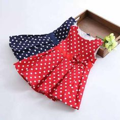 Girls' dresses new fashion 2014 summer red/blue baby dress girl clothes kids sleeveless cotton dot dress girls clothes retail-in Apparel & . Frocks For Girls, Kids Frocks, Little Girl Dresses, Girls Dresses, Toddler Outfits, Kids Outfits, Baby Girl Dress Design, Baby Frocks Designs, Baby Dress Patterns