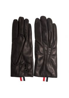 Thom Browne   Leather Buttoned Gloves with Tab Black   Available at Hervia.com #hervia #fashion #leathergloves #thombrowne