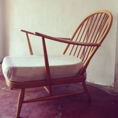 Unique Blonde Ercol Windsor Chair in Vintage French Sailcloth by EraBrighton on Etsy