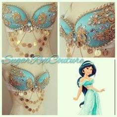 Jasmine inspired from Revolt Culture Rave Costumes, Belly Dance Costumes, Cosplay Costumes, Halloween Costumes, Dance Oriental, Bling Bra, Princess Jasmine Costume, Decorated Bras, Mermaid Bra