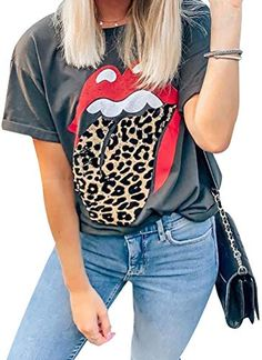 Womens Letter Leopard Striped Blouses Patchwork Round Neck Short Sleeves Pullover Tops